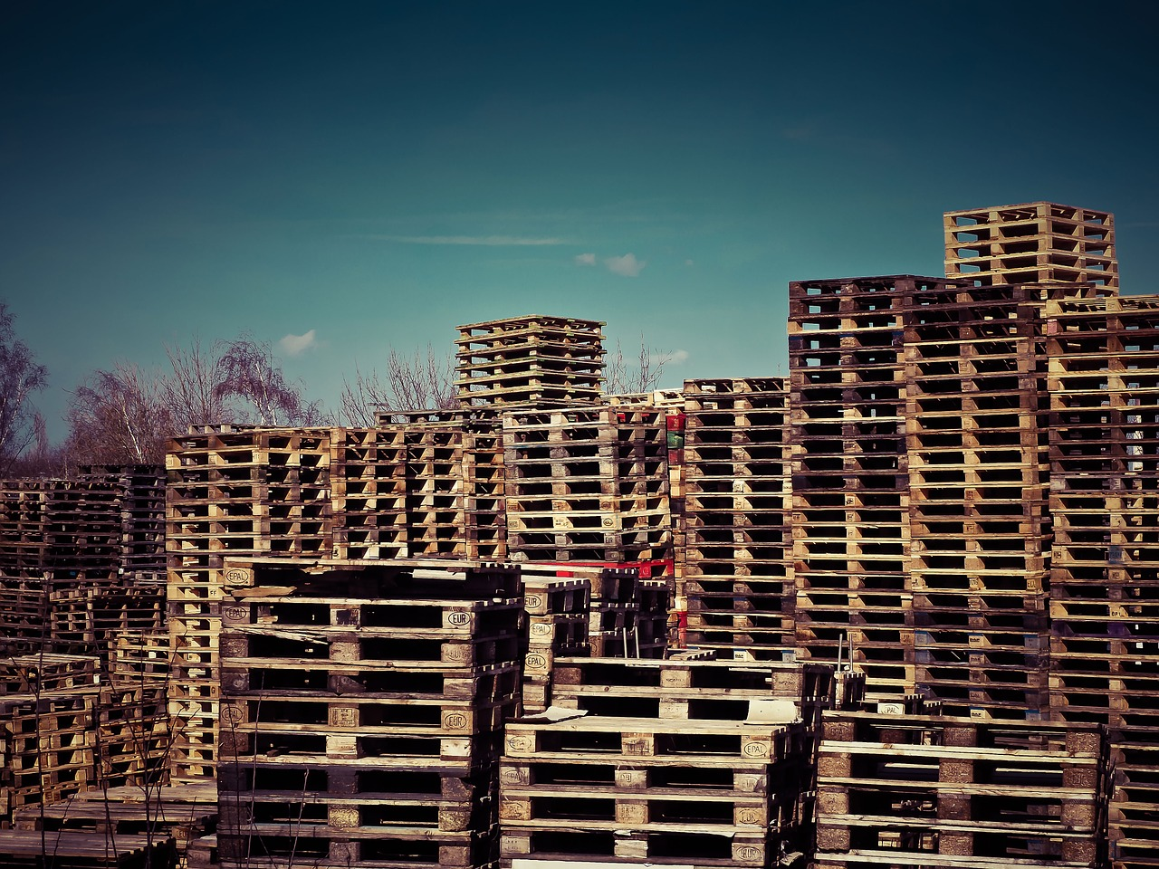 wooden pallets, pallets, stack